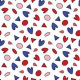 Άνευ ραφής σχέδιο με τους κύκλους, τα τρίγωνα και τα ρομαντικά στοιχεία καρδιών διανυσματική απεικόνιση