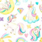Άνευ ραφής σχέδιο με τους μονοκέρους Όμορφη απεικόνιση μονοκέρων watercolor Το μαγικό καθιερώνον τη μόδα άλογο κινούμενων σχεδίων απεικόνιση αποθεμάτων