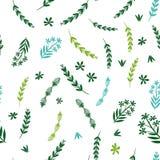 Άνευ ραφής σχέδιο με τους πράσινους κλάδους διανυσματική απεικόνιση