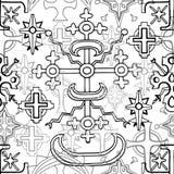 Άνευ ραφής σχέδιο με τους σταυρούς φαντασίας και ιερή γεωμετρία στο λευκό διανυσματική απεικόνιση