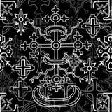 Άνευ ραφής σχέδιο με τους σταυρούς φαντασίας και τα ιερά εμβλήματα γεωμετρίας στο λευκό απεικόνιση αποθεμάτων