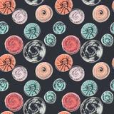 Άνευ ραφής σχέδιο με τους στρογγυλούς κατασκευασμένους λεκέδες Αφηρημένο υπόβαθρο με τις διαφορετικές κυκλικές τυπωμένες ύλες Σημ Στοκ φωτογραφία με δικαίωμα ελεύθερης χρήσης