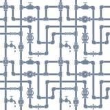 Άνευ ραφής σχέδιο με τους σωλήνες, τους γερανούς και τα υδρόμετρα Στοκ Εικόνες