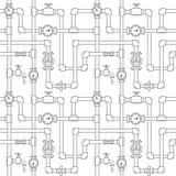 Άνευ ραφής σχέδιο με τους σωλήνες, τους γερανούς και τα υδρόμετρα Στοκ Φωτογραφίες