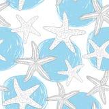 Άνευ ραφής σχέδιο με τους hand-drawn κύκλους και τον αστερία Ύφος Doodle του θαλάσσιου θέματος ελεύθερη απεικόνιση δικαιώματος