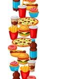 Άνευ ραφής σχέδιο με το γεύμα γρήγορου φαγητού Νόστιμα προϊόντα μεσημεριανού γεύματος γρήγορου γεύματος ελεύθερη απεικόνιση δικαιώματος