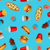 Άνευ ραφής σχέδιο με το γεύμα γρήγορου φαγητού Νόστιμα προϊόντα μεσημεριανού γεύματος γρήγορου γεύματος απεικόνιση αποθεμάτων