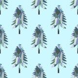 Άνευ ραφής σχέδιο με το δέντρο έλατου μωσαϊκών διανυσματική απεικόνιση