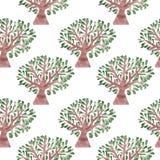 Άνευ ραφής σχέδιο με το δέντρο watercolor με το πράσινο φύλλο Στοκ φωτογραφία με δικαίωμα ελεύθερης χρήσης