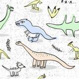 Άνευ ραφής σχέδιο με το δεινόσαυρο doodle Στοκ Εικόνες