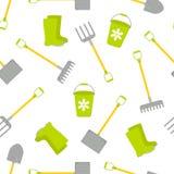 Άνευ ραφής σχέδιο με το διανυσματικό σύνολο εργαλείων για Συλλογή κηπουρικής διανυσματική απεικόνιση