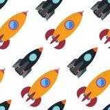 Άνευ ραφής σχέδιο με το διαστημικό πύραυλο Στοκ Εικόνες