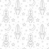 Άνευ ραφής σχέδιο με το διαστημικό σκάφος, τα αστέρια και το φεγγάρι περιγράμματος στο άσπρο υπόβαθρο Γραμμικό σχέδιο των σαϊτών  ελεύθερη απεικόνιση δικαιώματος