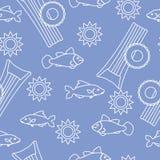 Άνευ ραφής σχέδιο με το διογκώσιμο στρώμα, διογκώσιμος κύκλος Θερινός ελεύθερος χρόνος απεικόνιση αποθεμάτων
