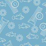 Άνευ ραφής σχέδιο με το διογκώσιμο στρώμα, διογκώσιμος κύκλος Θερινός ελεύθερος χρόνος ελεύθερη απεικόνιση δικαιώματος