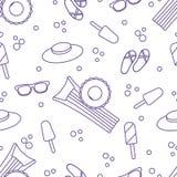 Άνευ ραφής σχέδιο με το διογκώσιμο στρώμα, διογκώσιμος κύκλος, παγωτό, καπέλο, γυαλιά, παντόφλες παραλιών Έννοια θερινού υπολοίπο διανυσματική απεικόνιση