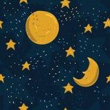 Άνευ ραφής σχέδιο με το κίτρινο φεγγάρι και αστέρια με τα πρόσωπα ο Στοκ Εικόνες