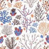 Άνευ ραφής σχέδιο με το κοράλλι και φύκι στο άσπρο υπόβαθρο Σκηνικό με τον τροπική σκόπελο ή τη χλωρίδα και την πανίδα βυθού διανυσματική απεικόνιση