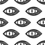 Άνευ ραφής σχέδιο με το μάτι δράκων ή φιδιών μαύρο λευκό διάνυσμα ελεύθερη απεικόνιση δικαιώματος