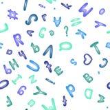 Άνευ ραφής σχέδιο με το μπλε αλφάβητο Χαριτωμένο ABC Στοκ Εικόνες