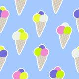 Άνευ ραφής σχέδιο με το παγωτό στο ύφος σκίτσων Στοκ εικόνα με δικαίωμα ελεύθερης χρήσης
