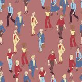 Άνευ ραφής σχέδιο με το περπάτημα επιχειρηματιών Απεικόνιση ύφους κινούμενων σχεδίων με τους άνδρες και τη γυναίκα διανυσματική απεικόνιση