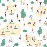 Άνευ ραφής σχέδιο με το πλήθος των ανθρώπων που εκτελούν τις υγιείς δραστηριότητες και που παίζουν τα αθλητικά παιχνίδια στο πάρκ απεικόνιση αποθεμάτων