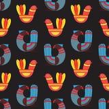 Άνευ ραφής σχέδιο με το Σκανδιναβικό ύφος διανυσματικό IL πουλιών φαντασίας Στοκ Εικόνες