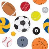 Άνευ ραφής σχέδιο με το σύνολο αθλητικών σφαιρών Συρμένο χέρι χρωματισμένο διανυσματικό σκίτσο Άσπρη ανασκόπηση Πρότυπο συμπεριλα διανυσματική απεικόνιση