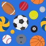 Άνευ ραφής σχέδιο με το σύνολο αθλητικών σφαιρών Συρμένο χέρι χρωματισμένο διανυσματικό σκίτσο πρόσκληση συγχαρητηρίων καρτών ανα διανυσματική απεικόνιση