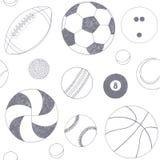 Άνευ ραφής σχέδιο με το σύνολο αθλητικών σφαιρών Συρμένο χέρι διανυσματικό σκίτσο Γκρίζα αθλητικά στοιχεία στο άσπρο υπόβαθρο πρό διανυσματική απεικόνιση