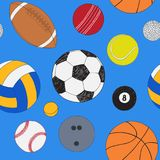 Άνευ ραφής σχέδιο με το σύνολο αθλητικών σφαιρών Συρμένο χέρι χρωματισμένο διανυσματικό σκίτσο πρόσκληση συγχαρητηρίων καρτών ανα ελεύθερη απεικόνιση δικαιώματος