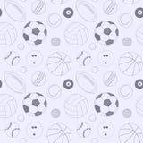 Άνευ ραφής σχέδιο με το σύνολο αθλητικών σφαιρών Συρμένο χέρι διανυσματικό σκίτσο Γκρίζα αθλητικά στοιχεία για το υπόβαθρο Πρότυπ διανυσματική απεικόνιση