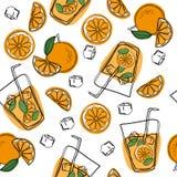 Άνευ ραφής σχέδιο με το φυσικό φρέσκο χυμό από πορτοκάλι σε ένα γυαλί Πορτοκαλιά φέτα, σωλήνας για την κατανάλωση υγιής οργανικός απεικόνιση αποθεμάτων