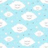 Άνευ ραφής σχέδιο με το χαμόγελο των σύννεφων και των αστεριών ύπνου ελεύθερη απεικόνιση δικαιώματος