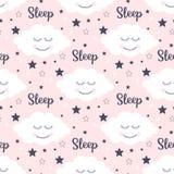 Άνευ ραφής σχέδιο με το χαμόγελο των σύννεφων και των αστεριών ύπνου απεικόνιση αποθεμάτων