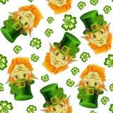 Άνευ ραφής σχέδιο με το χαμόγελο leprechaun των κεφαλιών ελεύθερη απεικόνιση δικαιώματος