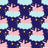 Άνευ ραφής σχέδιο με το χαριτωμένο λαγουδάκι στο σύννεφο που πιάνει τα αστέρια Στοκ Φωτογραφία