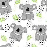 Άνευ ραφής σχέδιο με το χαριτωμένο koala Διανυσματικό υπόβαθρο για τα παιδιά Στοκ Εικόνες