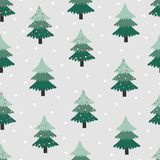 Άνευ ραφής σχέδιο με το χριστουγεννιάτικο δέντρο στο γκρίζο υπόβαθρο στοκ φωτογραφίες