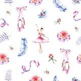 Άνευ ραφής σχέδιο με το ballerina watercolor, κορδέλλες, φτερά, pointes, peonies απεικόνιση αποθεμάτων