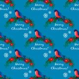 Άνευ ραφής σχέδιο με το bullfinch στον κλάδο Χριστουγέννων Στοκ φωτογραφία με δικαίωμα ελεύθερης χρήσης
