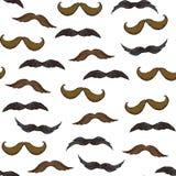 Άνευ ραφής σχέδιο με το mustache στο άσπρο υπόβαθρο διανυσματική απεικόνιση