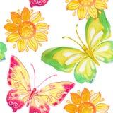 Άνευ ραφής σχέδιο με το watercolor πεταλούδων και λουλουδιών Στοκ φωτογραφίες με δικαίωμα ελεύθερης χρήσης