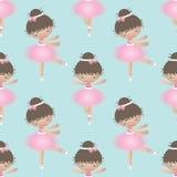 Άνευ ραφής σχέδιο με χαριτωμένο λίγο ballerina επίσης corel σύρετε το διάνυσμα απεικόνισης διανυσματική απεικόνιση