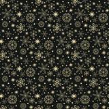 Άνευ ραφής σχέδιο με χρυσά snowflakes στο μαύρο υπόβαθρο ελεύθερη απεικόνιση δικαιώματος
