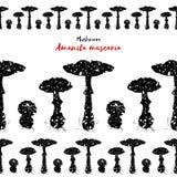 Άνευ ραφής σχέδιο με amanita το μανιτάρι Δηλητηριώδες αγαρικό μυγών toadstool Στοκ εικόνα με δικαίωμα ελεύθερης χρήσης