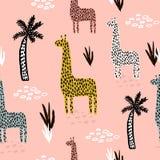 Άνευ ραφής σχέδιο με giraffe, φοίνικας, συρμένες χέρι μορφές και συστάσεις Αφρικανική σύσταση για το ύφασμα, κλωστοϋφαντουργικό π ελεύθερη απεικόνιση δικαιώματος