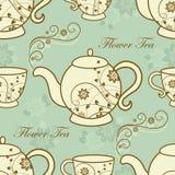 Άνευ ραφής σχέδιο με teapots και τα φλυτζάνια Στοκ Εικόνες