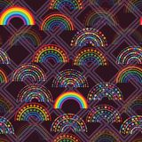 Άνευ ραφής σχέδιο μορφής διαμαντιών αγάπης αστεριών ουράνιων τόξων ελεύθερη απεικόνιση δικαιώματος